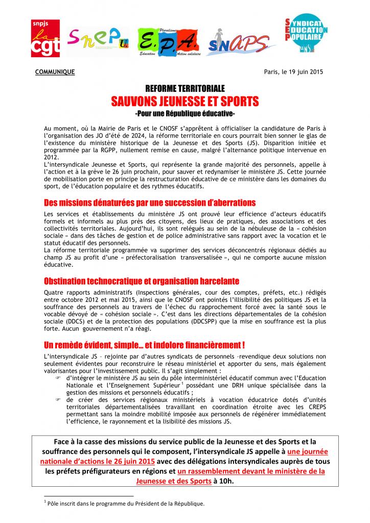 Communiqué de presse Sauvons Jeunesse et Sports 190615