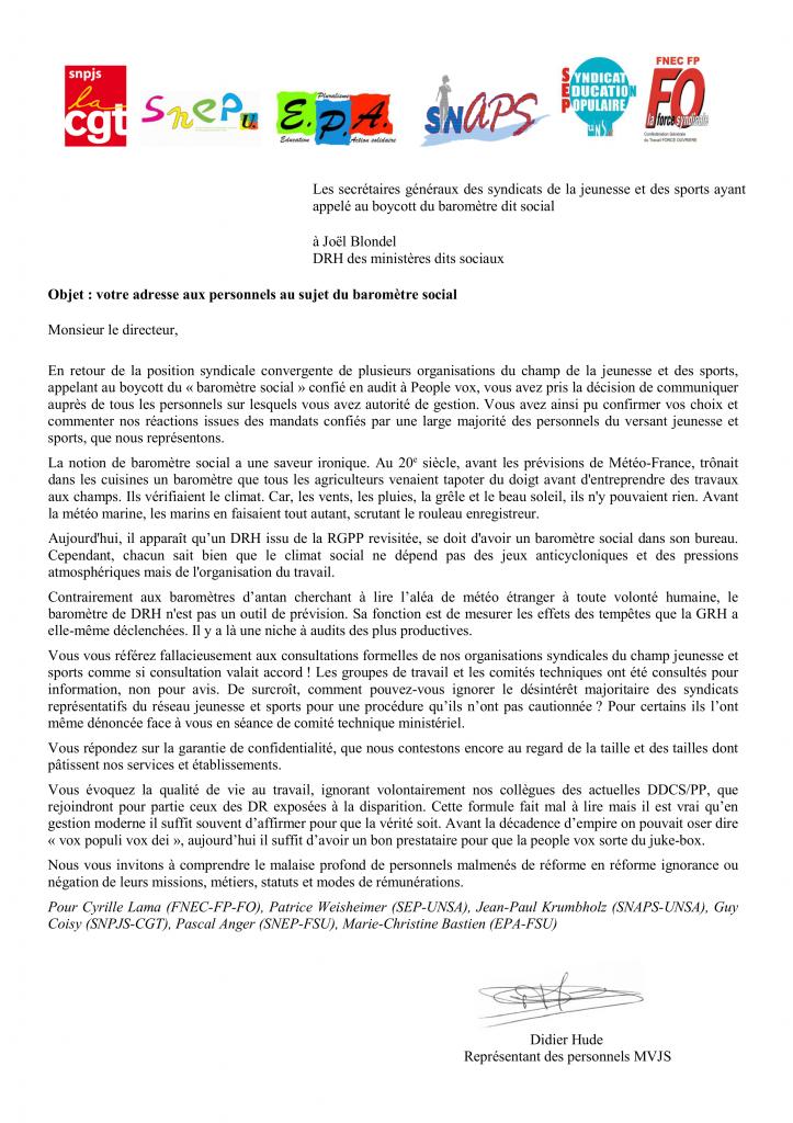 Réponse intersyndicale JS à J Blondel baromètre social
