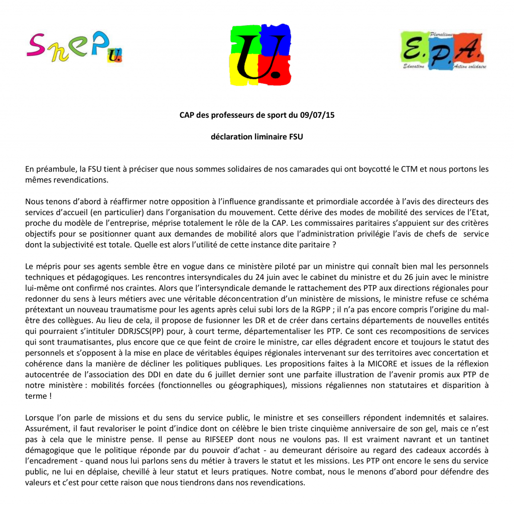 Déclaration liminaire FSU CAP 09 07 15