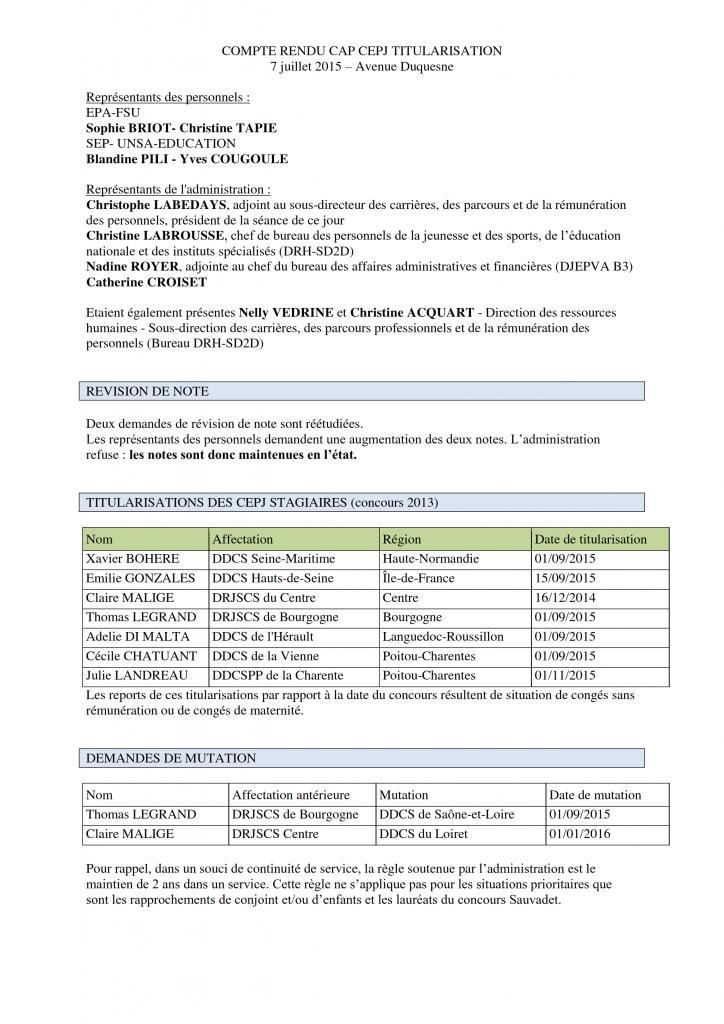 Résultats CAP CEPJ de TITULARISATION Juillet 2015_001